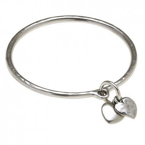 Danon Silver Bangle With Two Silver Hearts