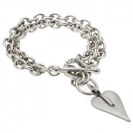 Danon Silver Double Chain Bracelet With Signature Heart