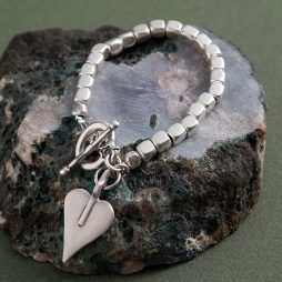 Danon Silver Cube Chunky Signature Heart Bracelet *