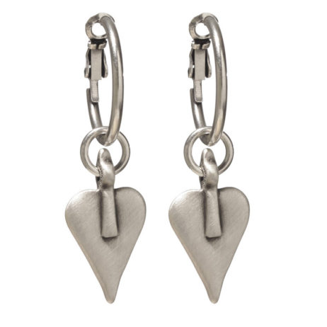 Danon Silver Heart Hoop Earrings