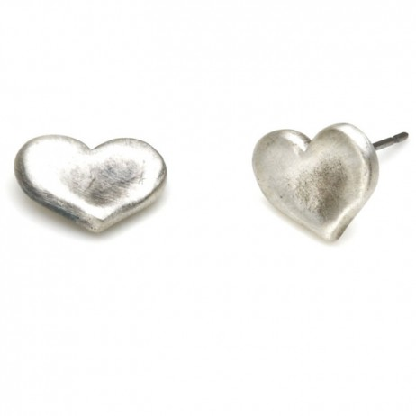 Danon Silver Chunky Heart Stud Earrings