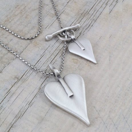 Danon Long Silver Double Heart Necklace