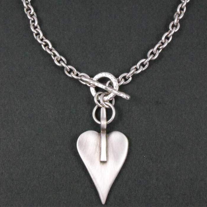 2aad2cf49 Danon Jewellery Danon Chunky Short Silver Large Heart Necklace