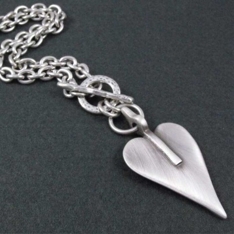 Danon Jewellery Chunky Short Silver Large Heart Necklace