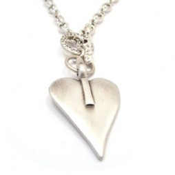 Danon Chunky Short Silver Large Heart Necklace