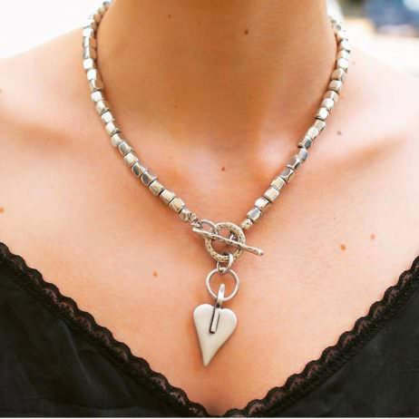 Danon Jewellery Silver Cubes and Heart Necklace