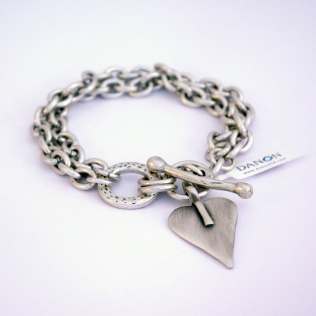 Danon Silver Double Chain Bracelet With Signature Heart
