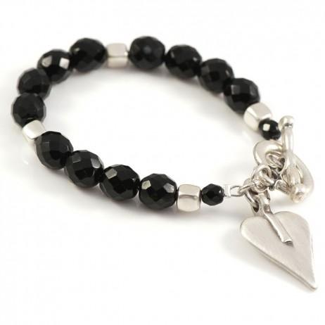 Danon Black Swarovski Crystal And Silver Heart Bracelet