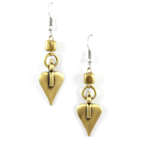 Danon Bronze Heart and Cube Earrings