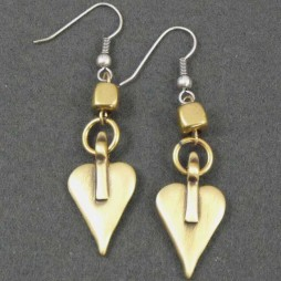 Danon Bronze Heart and Cube Earrings