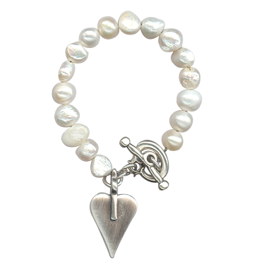 Danon Freshwater Pearl Bracelet With Silver Heart Charm