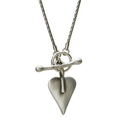 Danon Jewellery Silver Heart Snake Chain Necklace