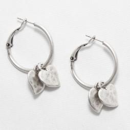 Danon Double Mini Heart Hoop Silver Earrings