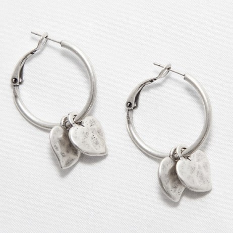 Danon Double Mini Heart Hoop Silver Earrings