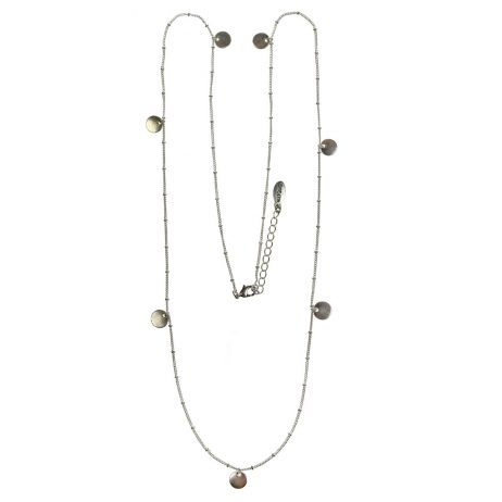 Hultquist Classic Silver Plated Coin Long Necklace