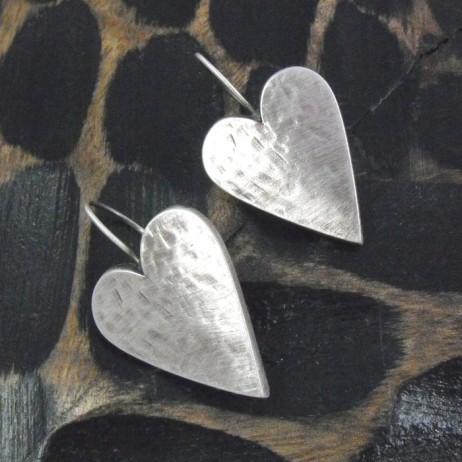 Danon Silver LARGE Heart Drop Earrings
