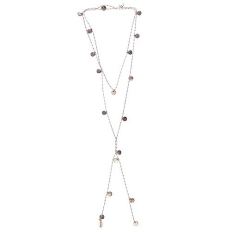 Hultquist Classic Silver Plated Coin Tie Long Lariat Necklace