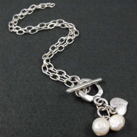 Danon Short Silver Necklace With Pearls And Small Heart