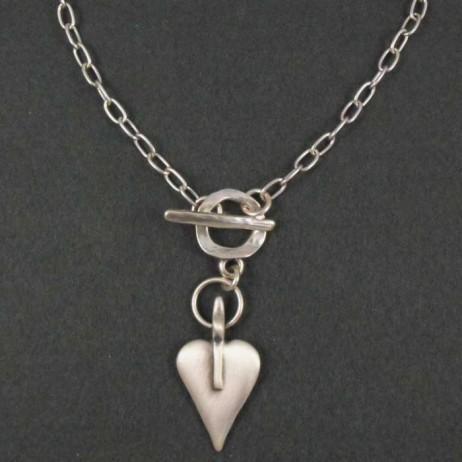 Danon Silver Mini Heart Short Necklace