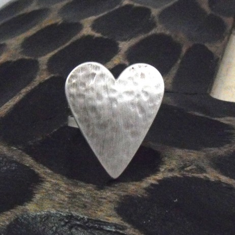 Danon Adjustable Silver Textured Heart Ring