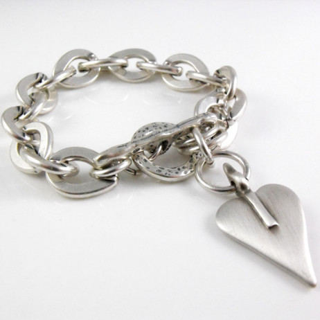 Danon Chunky Silver Single Heart Bracelet
