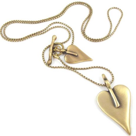 Danon Long Bronze Double Heart Necklace
