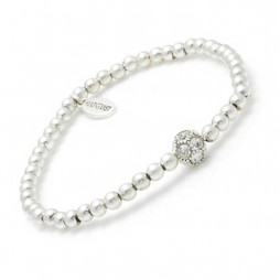 Hultquist Silver Plated & Swarovski Crystal Small Bead Bracelet