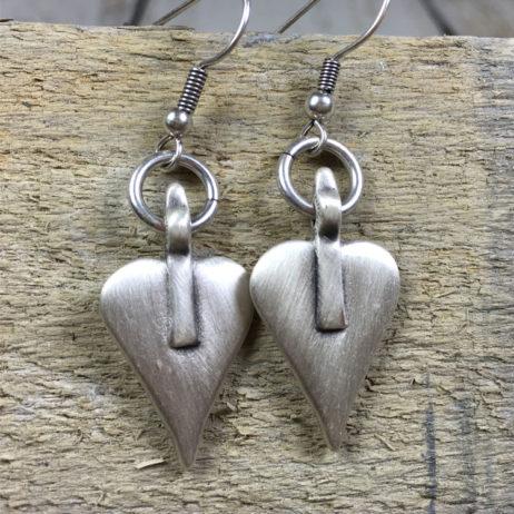 Danon Jewellery Silver Signature Heart Drop Earrings
