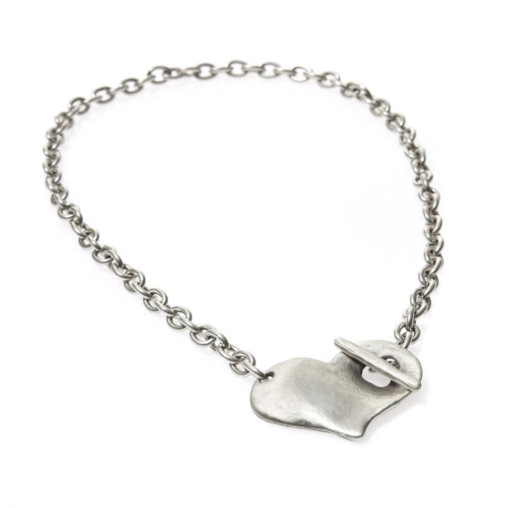 58614d3af Danon Silver Necklace With Large Chunky Heart Pendant