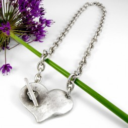 Danon Silver Necklace With Large Chunky Heart Pendant