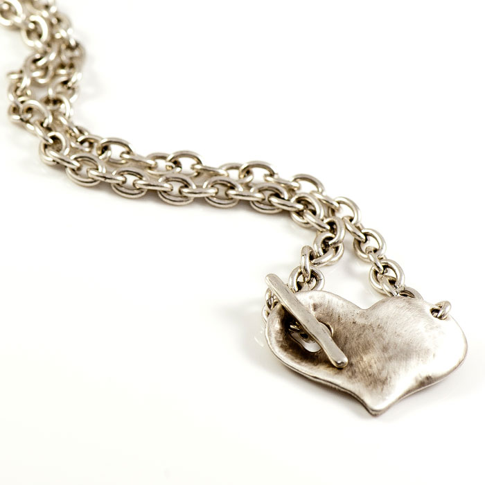 Danon silver necklace with large chunky heart pendant aloadofball Gallery