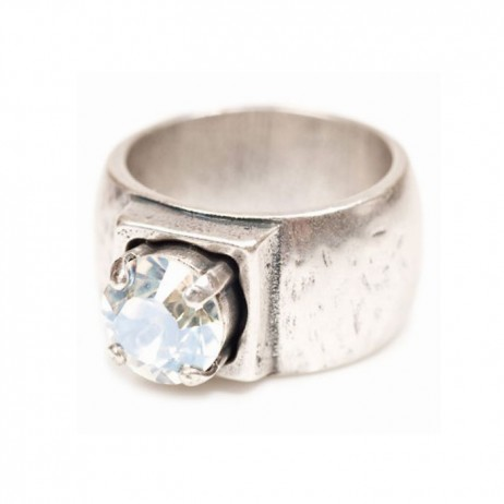 Danon Chunky Silver Ring With Single Large Crystal