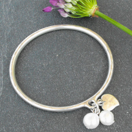 Danon Silver Heart & Pearls Bangle