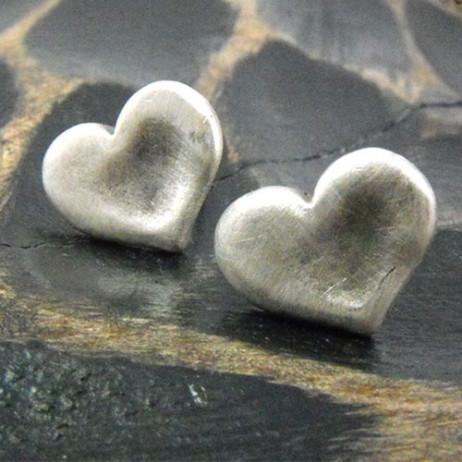Danon Silver Chunky Heart Stud Earrings