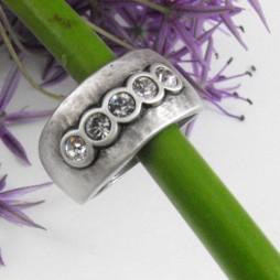 Danon Chunky Silver Swarovski Crystals Ring R975