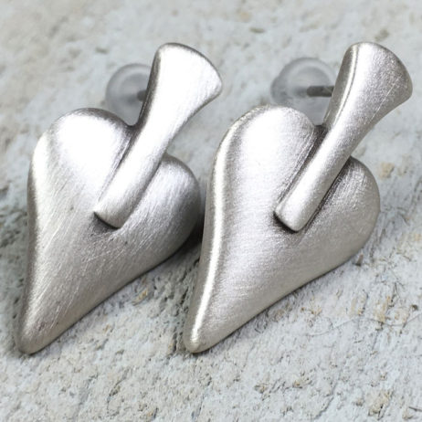 Danon Signature Heart Silver Stud Earrings