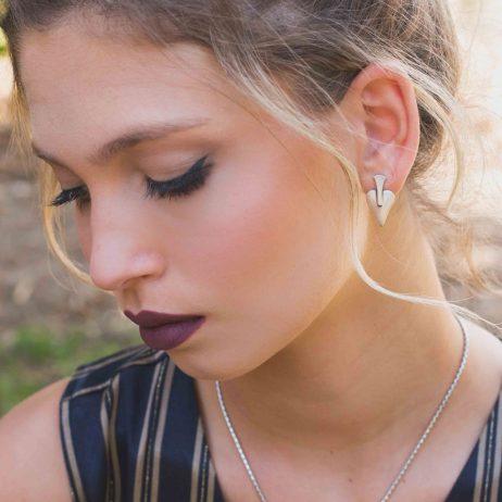 Danon Signature Heart Silver Stud Earrings