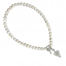 Danon Freshwater Pearl Necklace With Signature Silver Heart Pendant