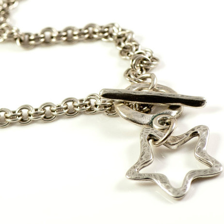 Danon Silver Star Double Links Chain Necklace