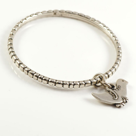 Danon Silver Cube Shaped Bird Bangle