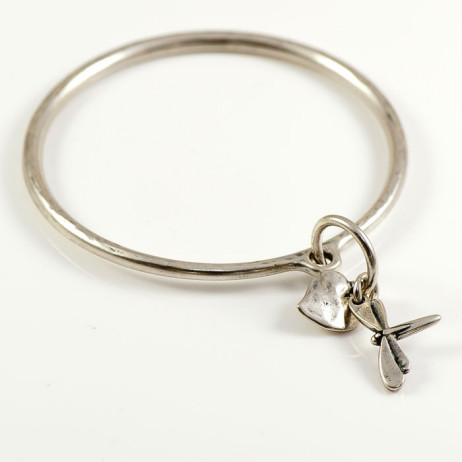Danon Silver Bangle With Dragonfly And Heart Charm