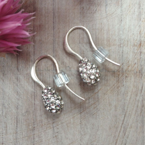 Hultquist Silver And White Crystal Tear Drop Earings
