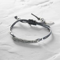 Hultquist Sterling Silver Bracelet With Diamond Crystals (adjustable on grey cord)