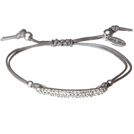 Hultquist Sterling Silver Bracelet With Black Diamond Crystals (adjustable on grey cord)