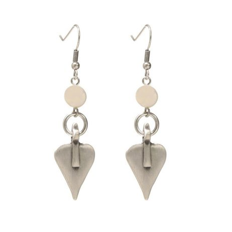 Danon Freshwater Pearl And Silver Heart Drop Earrings