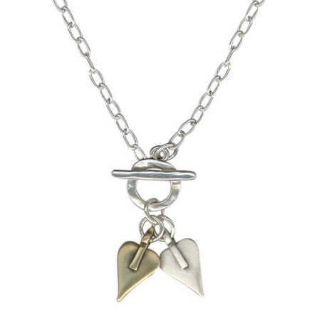 Danon Silver And Bronze Signature Heart Necklace