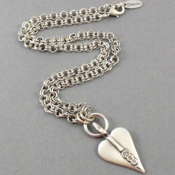 Danon Silver Necklace With Swarovski Crystals Heart Pendant