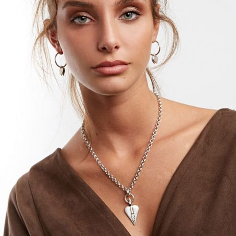 Danon Silver Necklace With Swarovski Crystals Heart Pendant