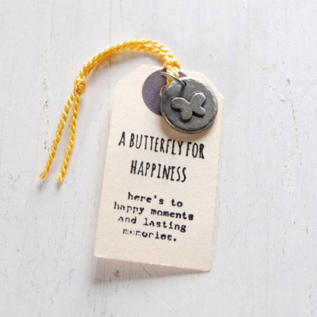 Kutuu Pewter Butterfly For Happiness Charm