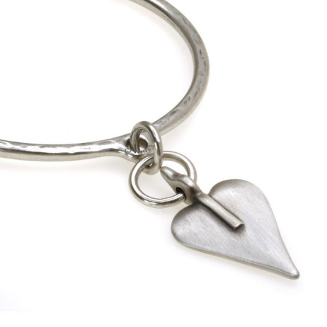 Danon Silver Bangle With Large Single Heart